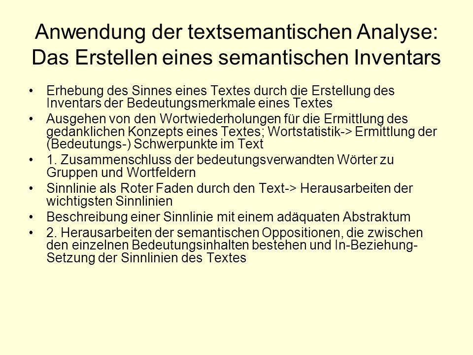 Anwendung der textsemantischen Analyse: Das Erstellen eines semantischen Inventars Erhebung des Sinnes eines Textes durch die Erstellung des Inventars