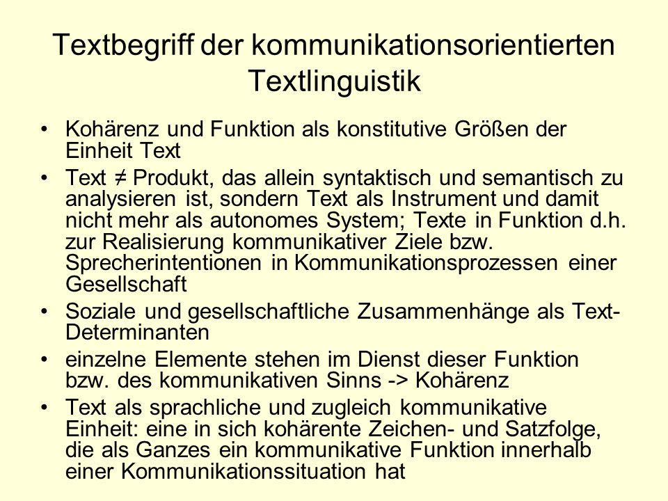 Textbegriff der kommunikationsorientierten Textlinguistik Kohärenz und Funktion als konstitutive Größen der Einheit Text Text ≠ Produkt, das allein sy