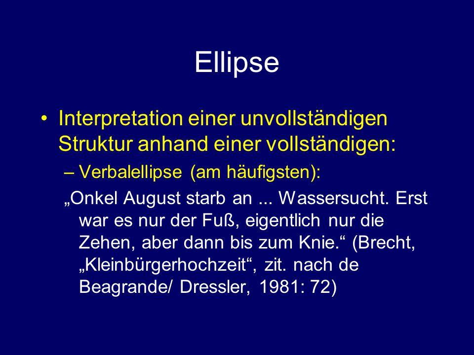 """Ellipse Interpretation einer unvollständigen Struktur anhand einer vollständigen: –Verbalellipse (am häufigsten): """"Onkel August starb an..."""