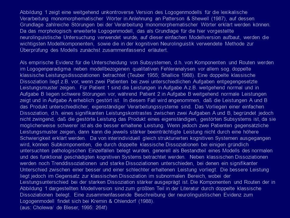 Abbildung 1 zeigt eine weitgehend unkontroverse Version des Logogenmodells für die lexikalische Verarbeitung monomorphematischer Wörter in Anlehnung an Patterson & Shewell (1987), auf dessen Grundlage zahlreiche Störungen bei der Verarbeitung monomorphematischer Wörter erklärt werden können.