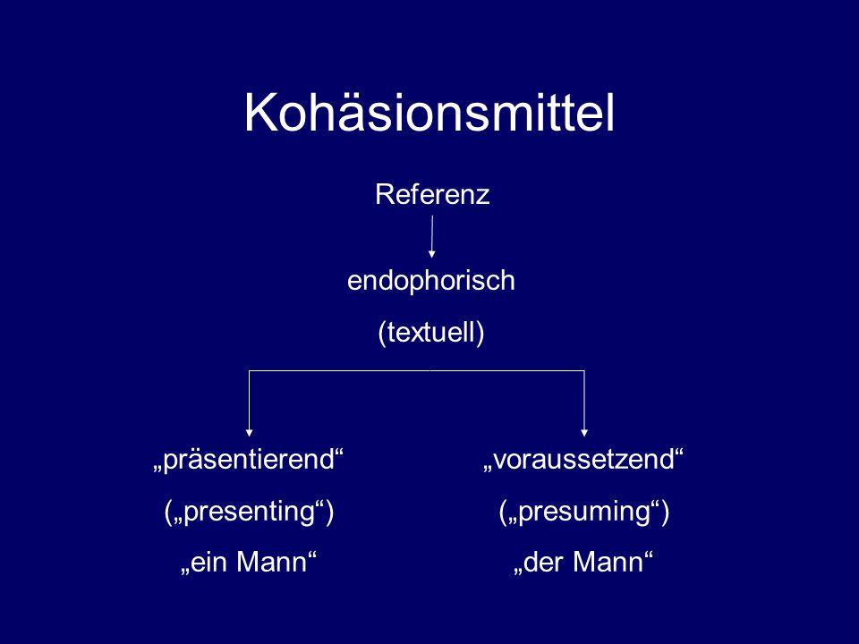 """Kohäsionsmittel Referenz endophorisch (textuell) """"präsentierend (""""presenting ) """"ein Mann """"voraussetzend (""""presuming ) """"der Mann"""