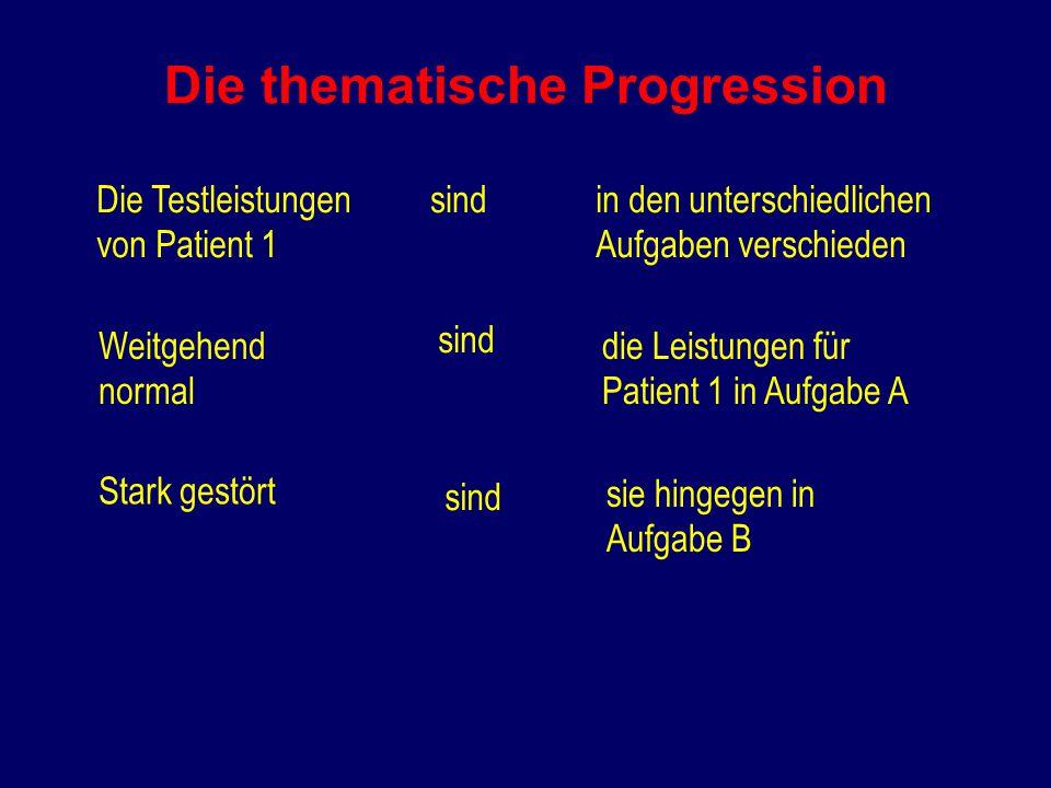 Die thematische Progression Die Testleistungen von Patient 1 sindin den unterschiedlichen Aufgaben verschieden Weitgehend normal sind die Leistungen für Patient 1 in Aufgabe A Stark gestört sind sie hingegen in Aufgabe B