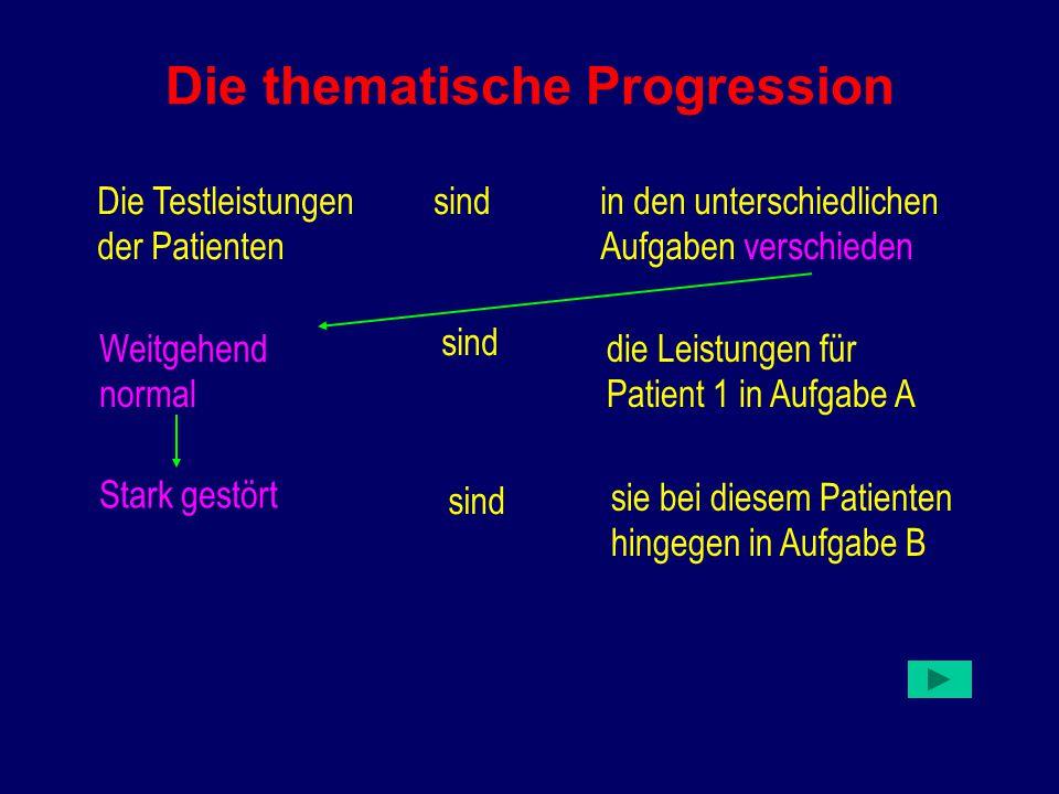 Die thematische Progression Die Testleistungen der Patienten sindin den unterschiedlichen Aufgaben verschieden Weitgehend normal sind die Leistungen für Patient 1 in Aufgabe A Stark gestört sind sie bei diesem Patienten hingegen in Aufgabe B