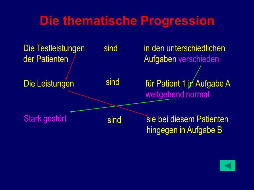 Die thematische Progression Die Testleistungen der Patienten sindin den unterschiedlichen Aufgaben verschieden Die Leistungen sind für Patient 1 in Aufgabe A weitgehend normal Stark gestört sind sie bei diesem Patienten hingegen in Aufgabe B