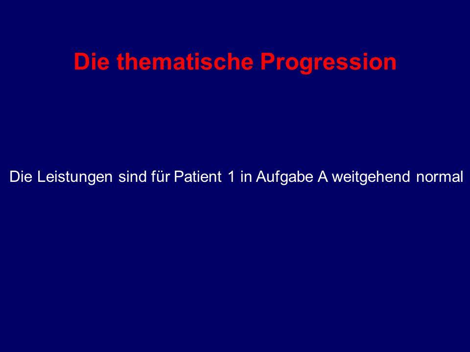 Die thematische Progression Die Leistungen sind für Patient 1 in Aufgabe A weitgehend normal