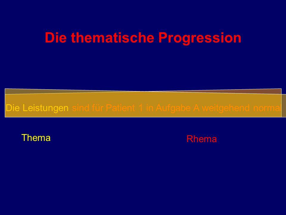 Die thematische Progression Die Leistungen sind für Patient 1 in Aufgabe A weitgehend normal Thema Rhema