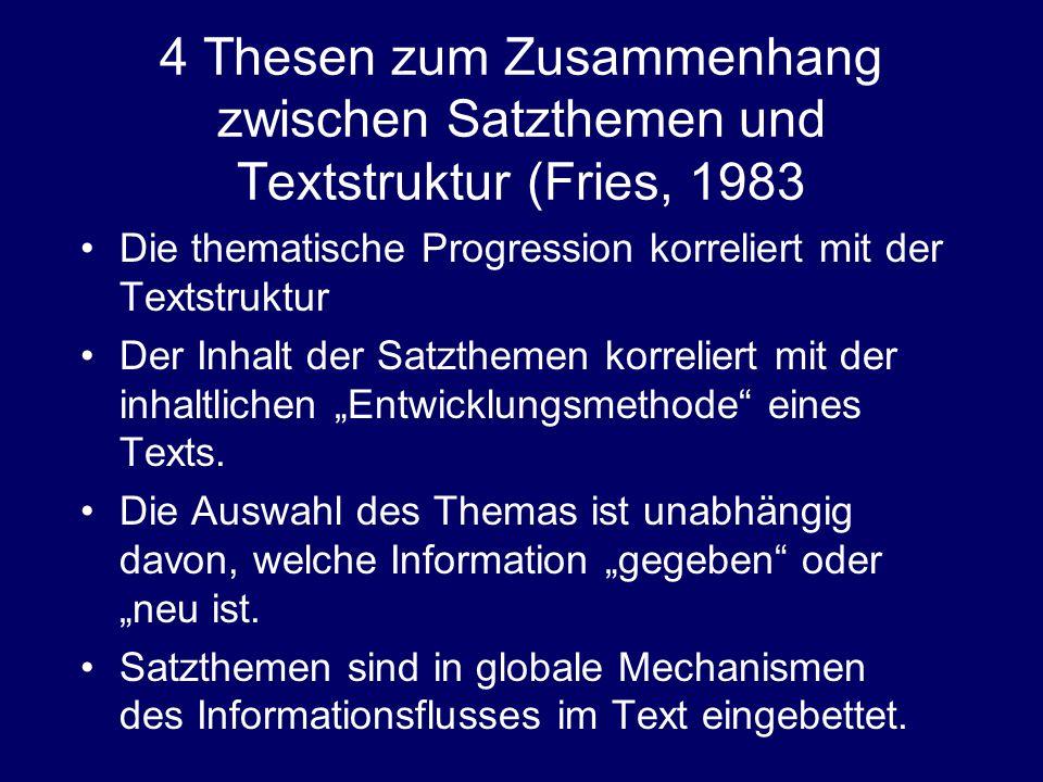 """4 Thesen zum Zusammenhang zwischen Satzthemen und Textstruktur (Fries, 1983 Die thematische Progression korreliert mit der Textstruktur Der Inhalt der Satzthemen korreliert mit der inhaltlichen """"Entwicklungsmethode eines Texts."""