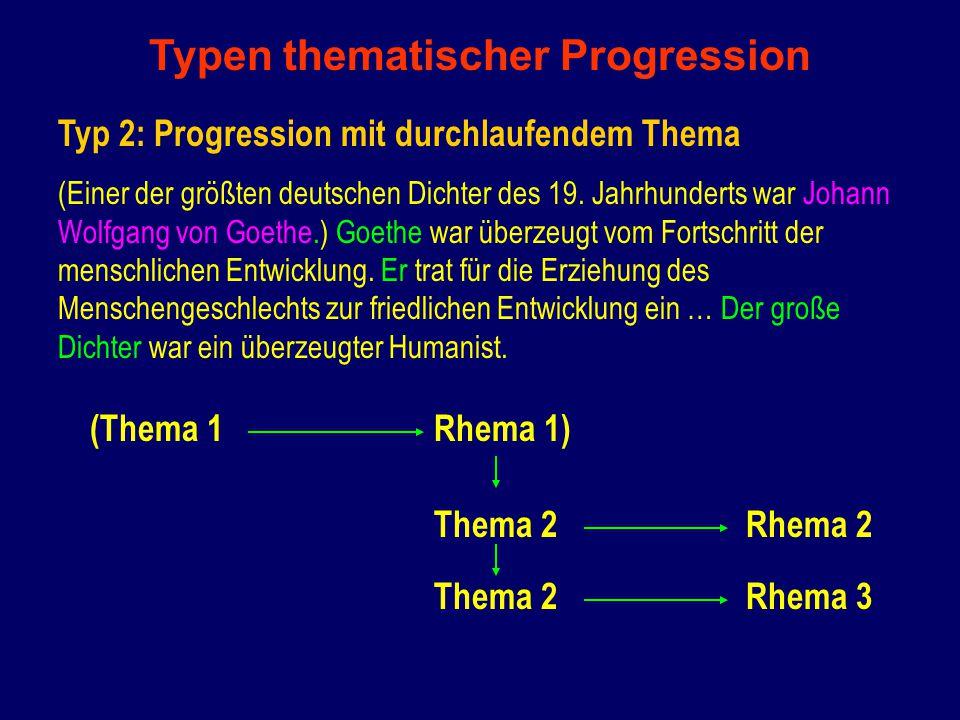 Typen thematischer Progression Typ 2: Progression mit durchlaufendem Thema (Einer der größten deutschen Dichter des 19.