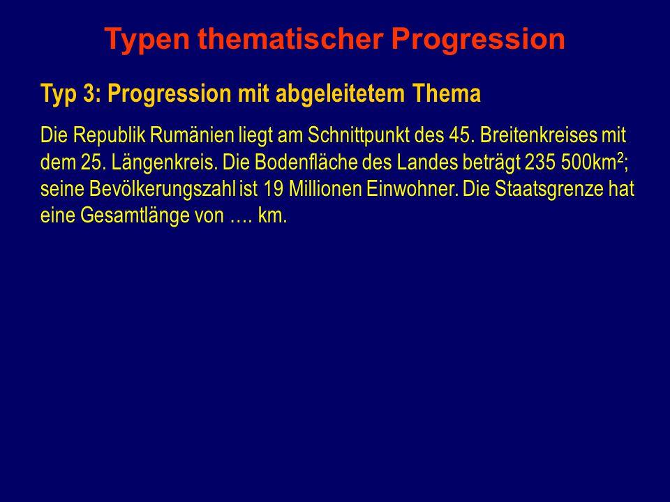 Typen thematischer Progression Typ 3: Progression mit abgeleitetem Thema Die Republik Rumänien liegt am Schnittpunkt des 45.
