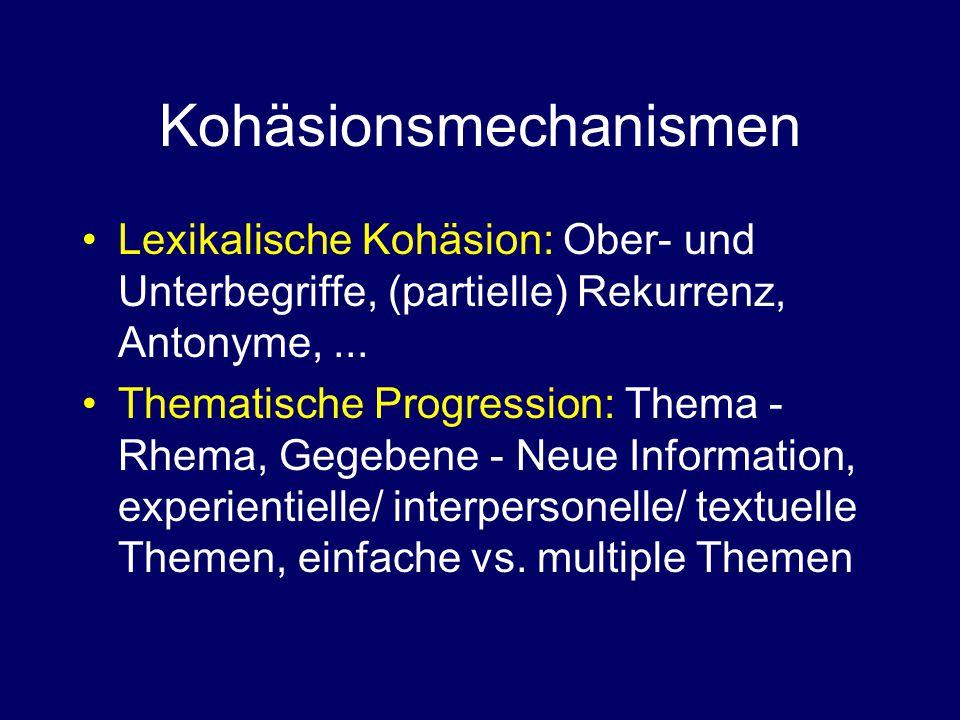 Kohäsionsmechanismen Lexikalische Kohäsion: Ober- und Unterbegriffe, (partielle) Rekurrenz, Antonyme,...