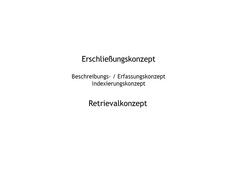 Erschließungskonzept Beschreibungs- / Erfassungskonzept Indexierungskonzept Retrievalkonzept