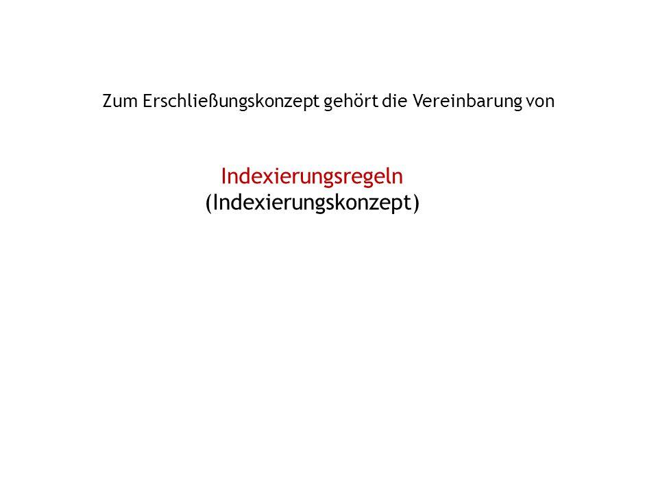 Zum Erschließungskonzept gehört die Vereinbarung von Indexierungsregeln (Indexierungskonzept)