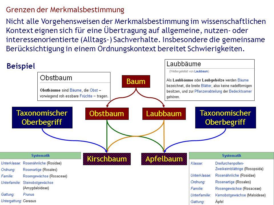 Grenzen der Merkmalsbestimmung Nicht alle Vorgehensweisen der Merkmalsbestimmung im wissenschaftlichen Kontext eignen sich für eine Übertragung auf allgemeine, nutzen- oder interessenorientierte (Alltags-) Sachverhalte.