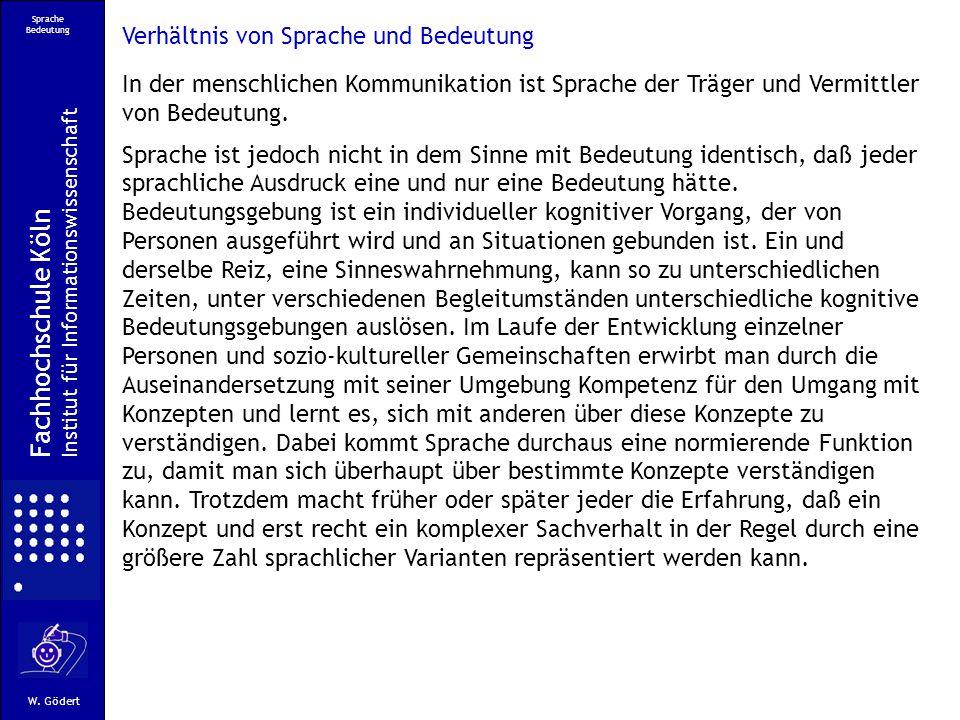 Sprache Bedeutung Fachhochschule Köln Institut für Informationswissenschaft W.