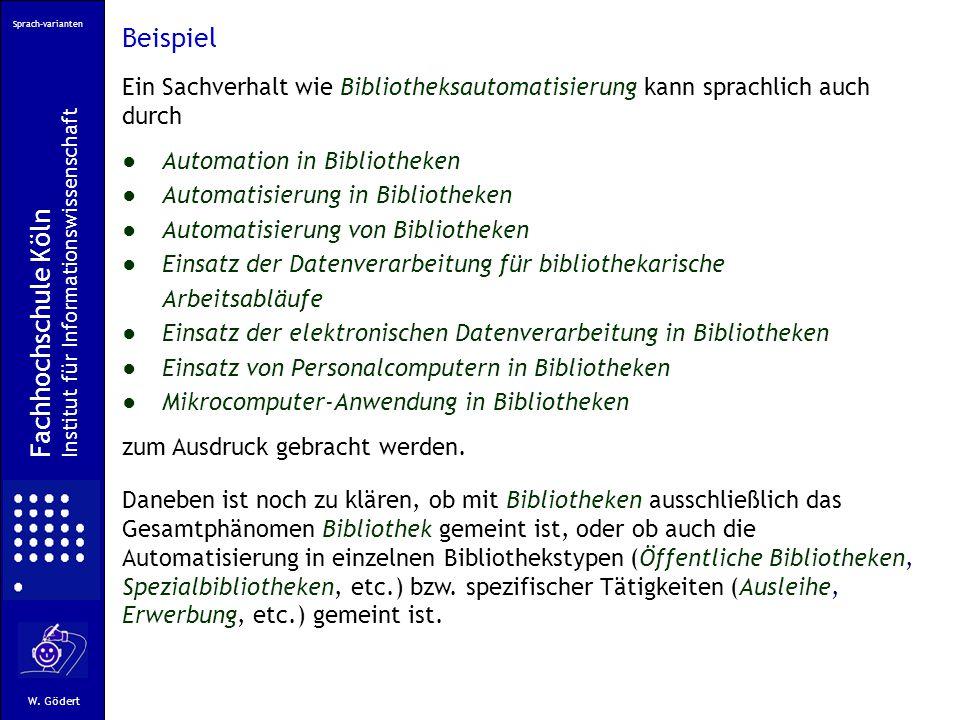 Sprach-varianten Fachhochschule Köln Institut für Informationswissenschaft W.
