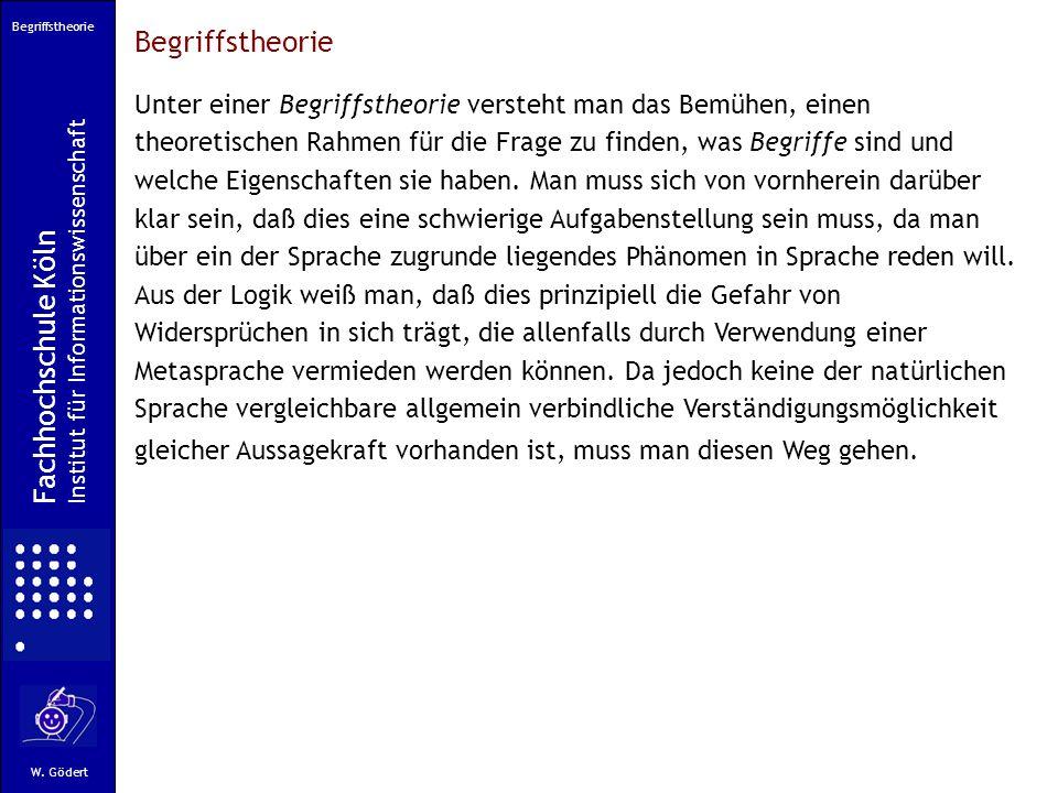 Begriffstheorie Fachhochschule Köln Institut für Informationswissenschaft W.