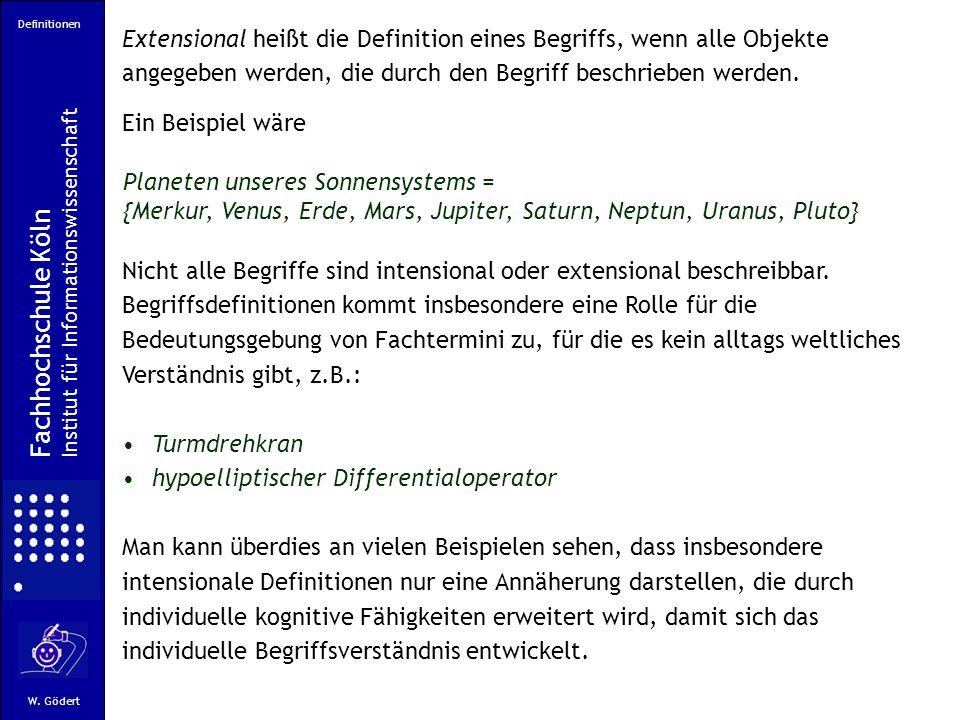 Definitionen Fachhochschule Köln Institut für Informationswissenschaft W.