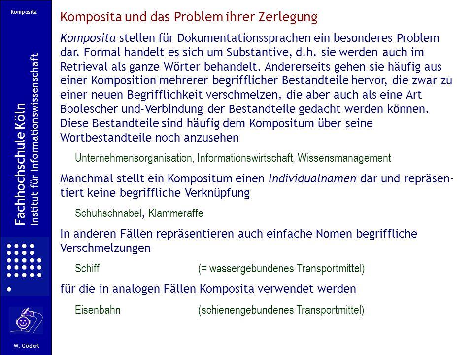 Komposita Fachhochschule Köln Institut für Informationswissenschaft W.