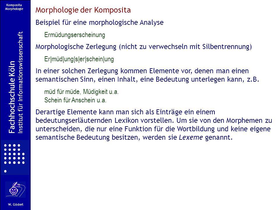 Komposita Morphologie Fachhochschule Köln Institut für Informationswissenschaft W.