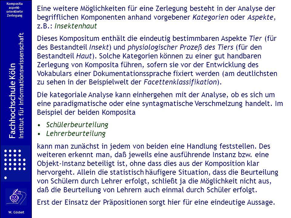 Komposita aspekt- orientierte Zerlegung Fachhochschule Köln Institut für Informationswissenschaft W.