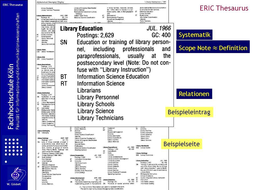 Scope Note  Definition Relationen Systematik Fachhochschule Köln Fakultät für Informations-und Kommunikationswissenschaften W.