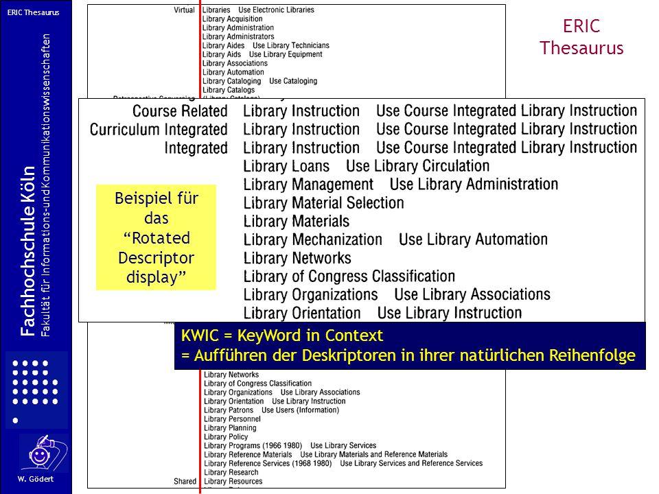 ERIC Thesaurus Alphabetische Anordnung KWIC = KeyWord in Context = Aufführen der Deskriptoren in ihrer natürlichen Reihenfolge Fachhochschule Köln Fakultät für Informations-und Kommunikationswissenschaften W.