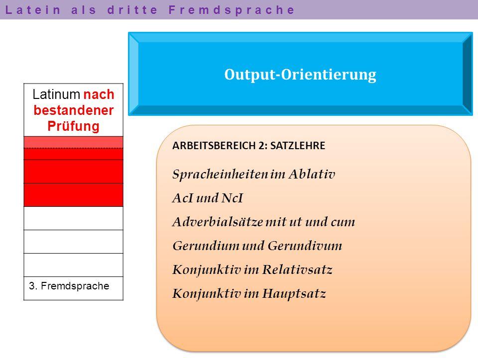Output-Orientierung Latinum nach bestandener Prüfung 3. Fremdsprache ARBEITSBEREICH 2: SATZLEHRE Spracheinheiten im Ablativ AcI und NcI Adverbialsätze