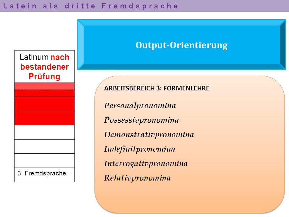 Output-Orientierung Latinum nach bestandener Prüfung 3. Fremdsprache ARBEITSBEREICH 3: FORMENLEHRE Personalpronomina Possessivpronomina Demonstrativpr
