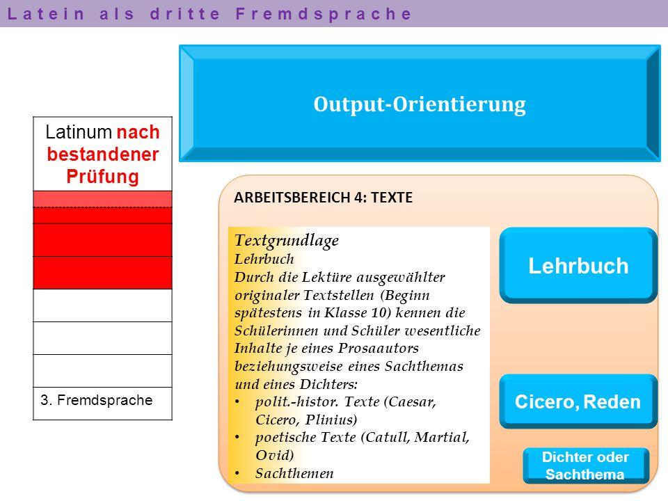 Output-Orientierung Latinum nach bestandener Prüfung 3. Fremdsprache ARBEITSBEREICH 4: TEXTE Textgrundlage Lehrbuch Durch die Lektüre ausgewählter ori