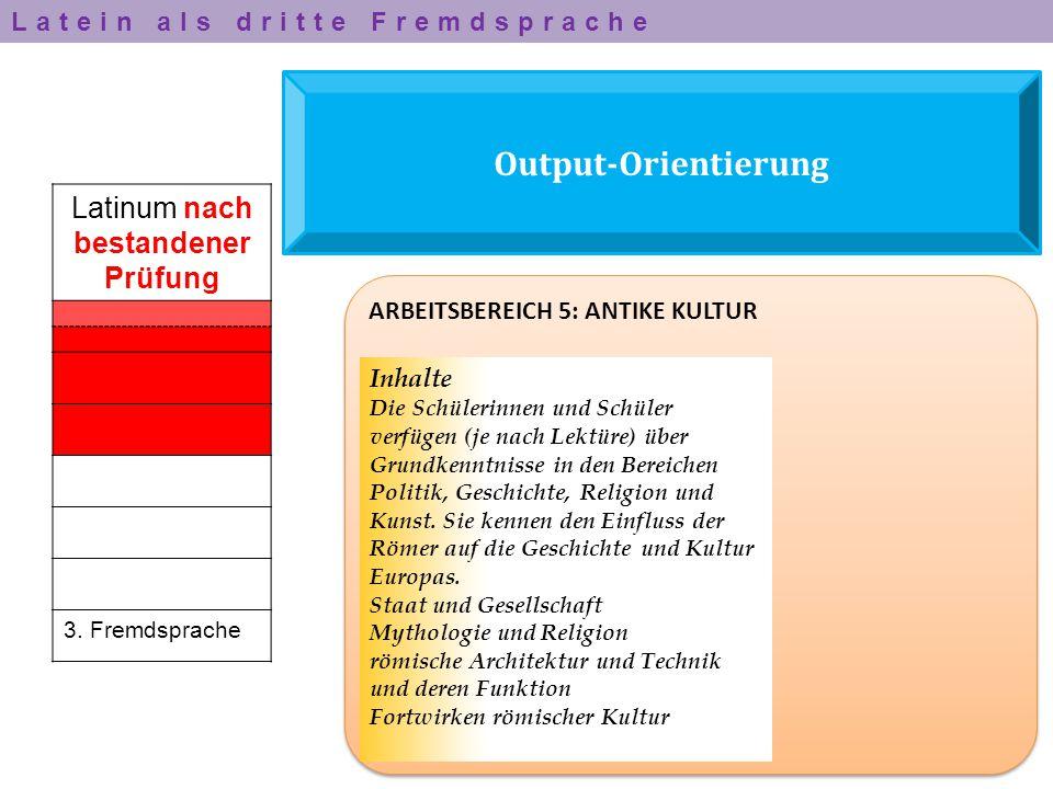 Output-Orientierung Latinum nach bestandener Prüfung 3. Fremdsprache ARBEITSBEREICH 5: ANTIKE KULTUR Inhalte Die Schülerinnen und Schüler verfügen (je