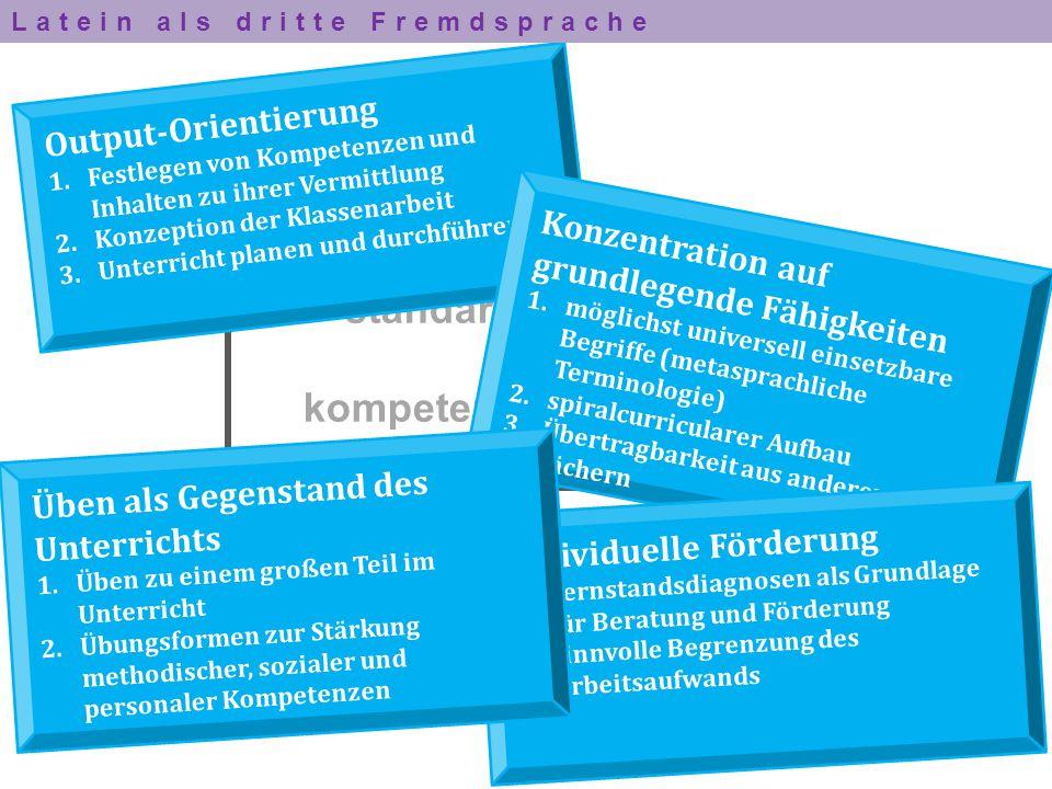 Maximen standardbasierten und kompetenzorientierten Lateinunterrichts Output-Orientierung 1.Festlegen von Kompetenzen und Inhalten zu ihrer Vermittlun