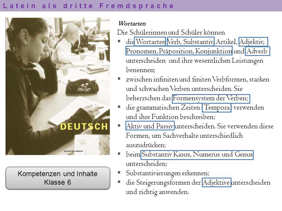 Wortarten Die Schülerinnen und Schüler können  die Wortarten Verb, Substantiv, Artikel, Adjektiv, Pronomen, Präposition, Konjunktion und Adverb unter
