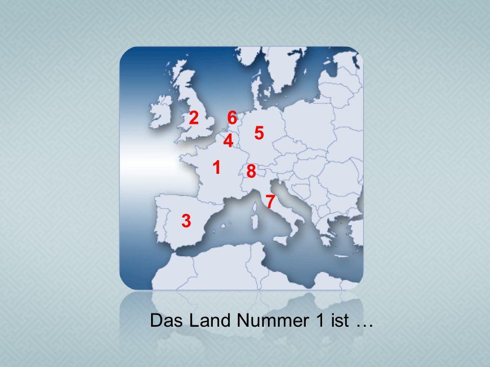 1 2 3 4 5 6 7 8 Das Land Nummer 1 ist …