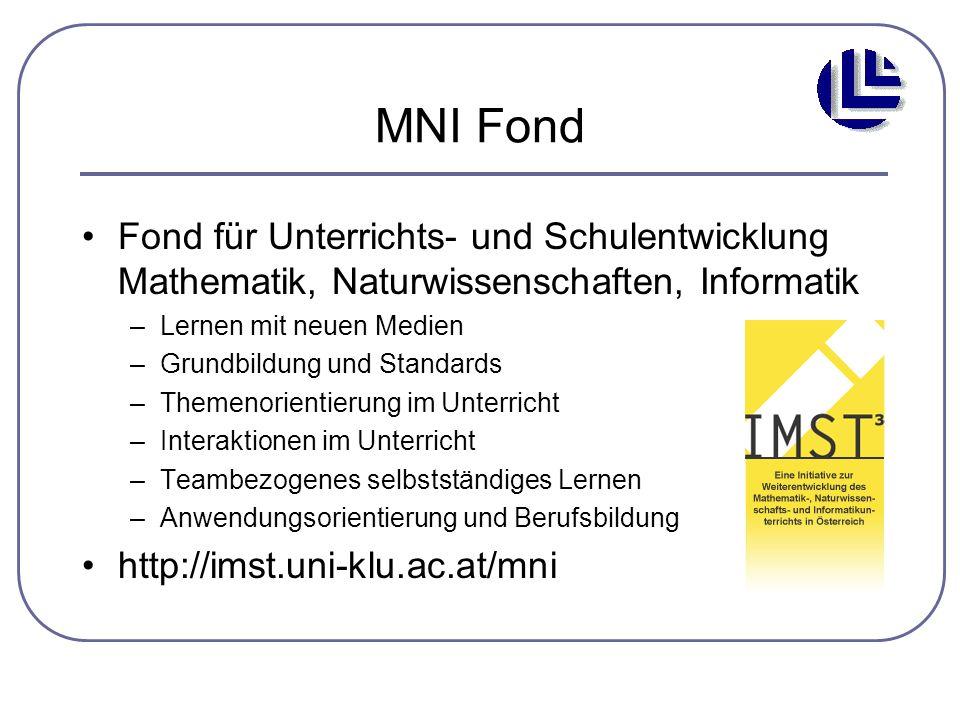 MNI Fond Fond für Unterrichts- und Schulentwicklung Mathematik, Naturwissenschaften, Informatik –Lernen mit neuen Medien –Grundbildung und Standards –