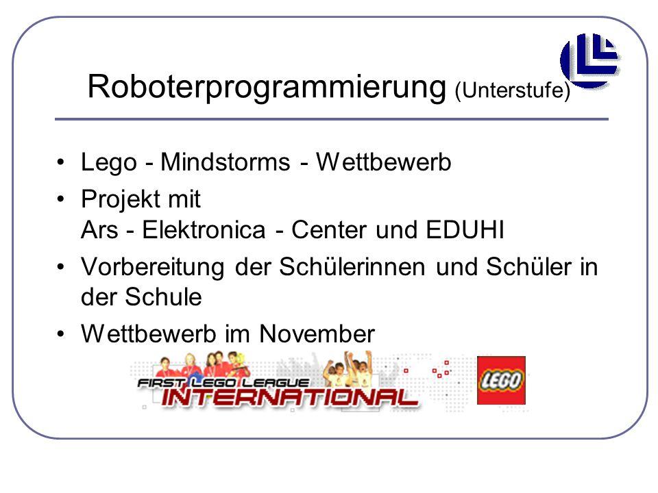 Roboterprogrammierung (Unterstufe) Lego - Mindstorms - Wettbewerb Projekt mit Ars - Elektronica - Center und EDUHI Vorbereitung der Schülerinnen und S