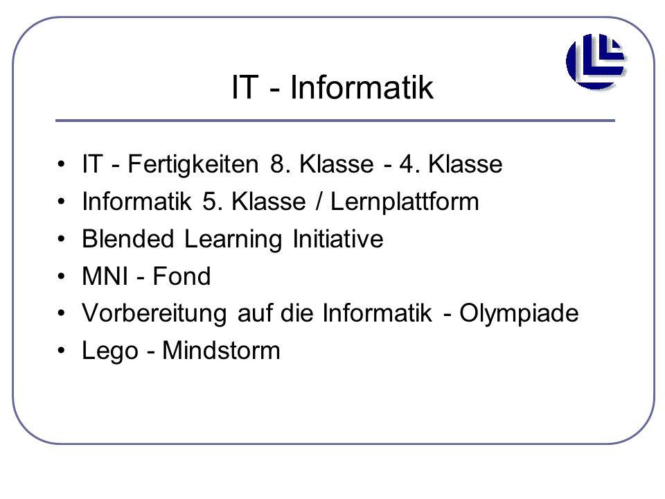 IT - Informatik IT - Fertigkeiten 8. Klasse - 4. Klasse Informatik 5. Klasse / Lernplattform Blended Learning Initiative MNI - Fond Vorbereitung auf d