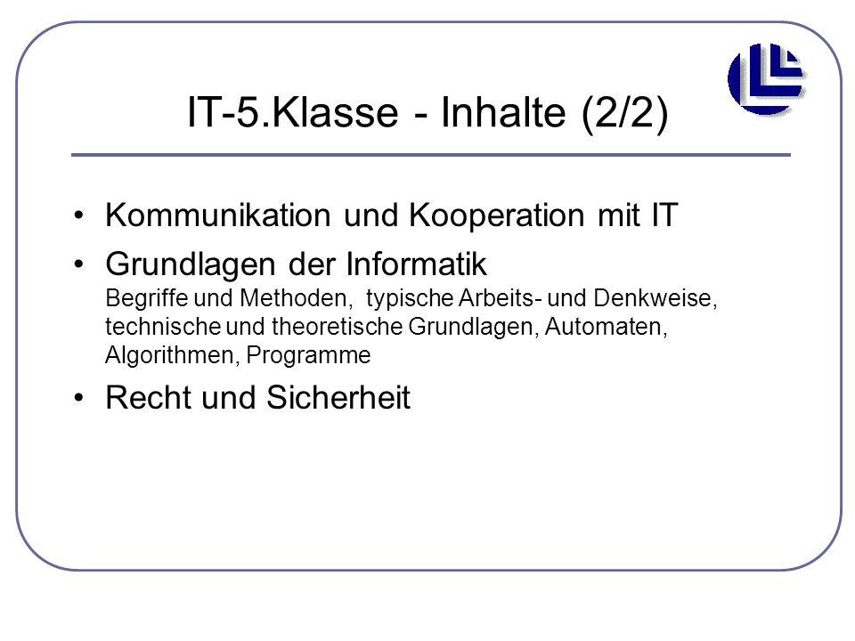 IT-5.Klasse - Inhalte (2/2) Kommunikation und Kooperation mit IT Grundlagen der Informatik Begriffe und Methoden, typische Arbeits- und Denkweise, tec