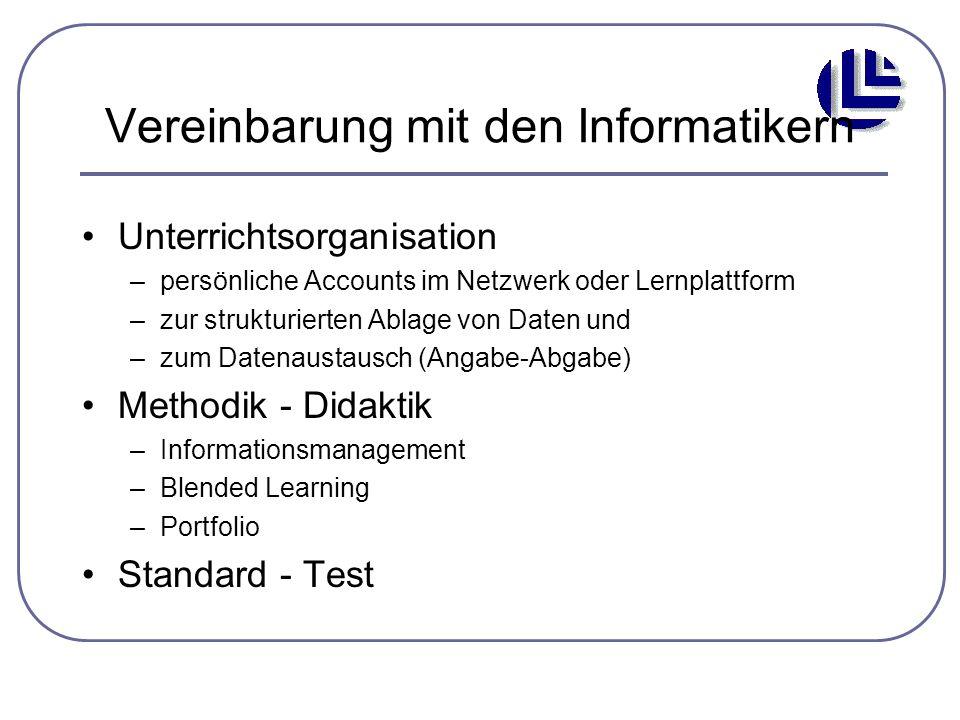 Vereinbarung mit den Informatikern Unterrichtsorganisation –persönliche Accounts im Netzwerk oder Lernplattform –zur strukturierten Ablage von Daten u