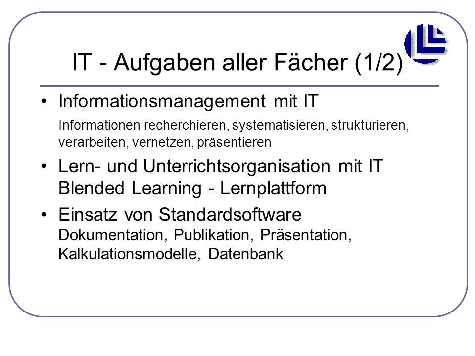 IT - Aufgaben aller Fächer (1/2) Informationsmanagement mit IT Informationen recherchieren, systematisieren, strukturieren, verarbeiten, vernetzen, pr