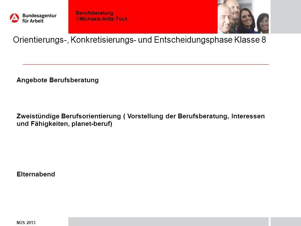 Berufsberatung ©Michaele Arlitz-Tück Orientierungs-, Konkretisierungs- und Entscheidungsphase Klasse 8 NÜS 2013 Angebote Berufsberatung Zweistündige B