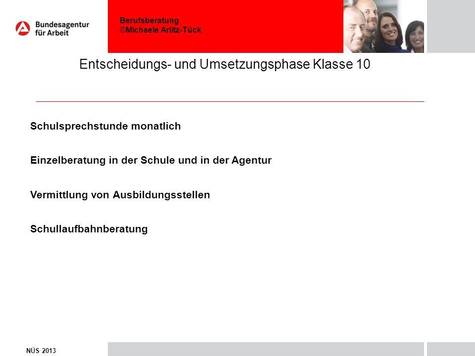 Berufsberatung ©Michaele Arlitz-Tück Entscheidungs- und Umsetzungsphase Klasse 10 NÜS 2013 Schulsprechstunde monatlich Einzelberatung in der Schule un