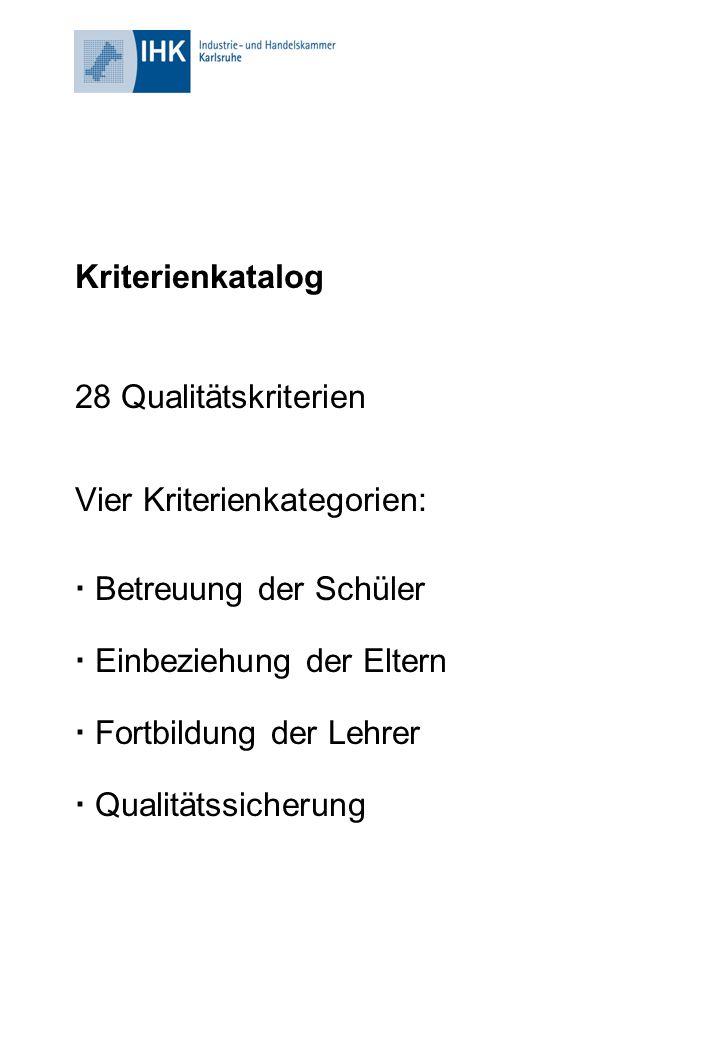 Kriterienkatalog 28 Qualitätskriterien Vier Kriterienkategorien:  Betreuung der Schüler  Einbeziehung der Eltern  Fortbildung der Lehrer  Qualität