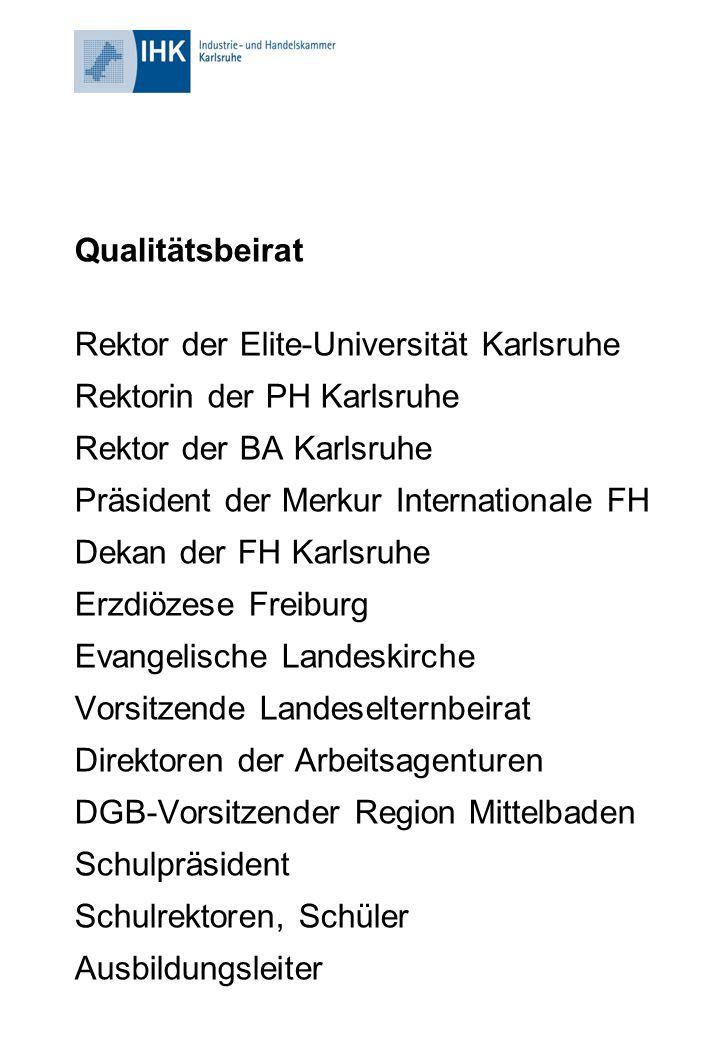 Qualitätsbeirat Rektor der Elite-Universität Karlsruhe Rektorin der PH Karlsruhe Rektor der BA Karlsruhe Präsident der Merkur Internationale FH Dekan