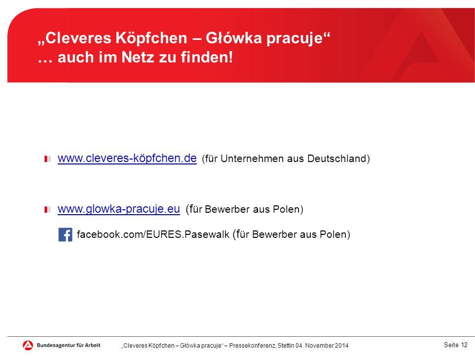 """Seite 12 """"Cleveres Köpfchen – Główka pracuje … auch im Netz zu finden."""