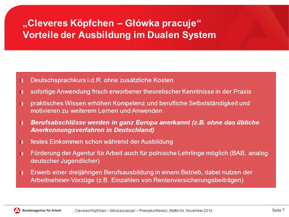"""Seite 7 """"Cleveres Köpfchen – Główka pracuje Vorteile der Ausbildung im Dualen System Deutschsprachkurs i.d.R."""