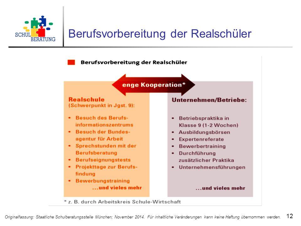 Berufsvorbereitung der Realschüler 12 Originalfassung: Staatliche Schulberatungsstelle München; November 2014.