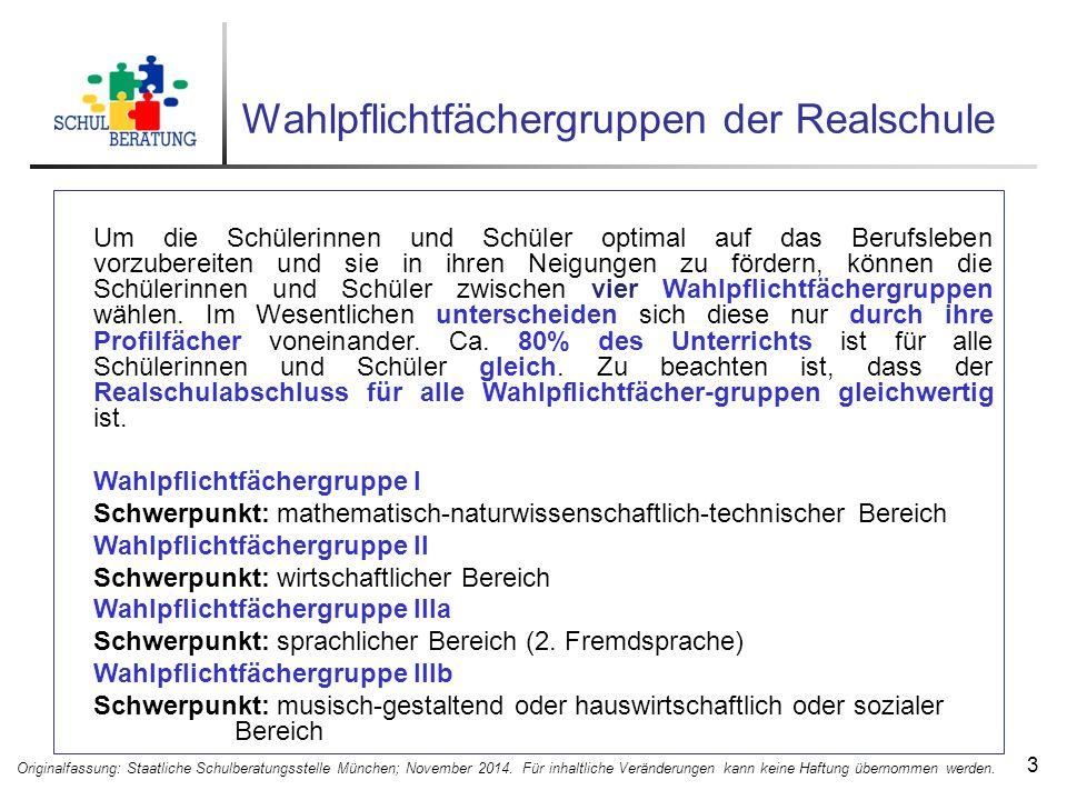 Wahlpflichtfächergruppen der Realschule 3 Originalfassung: Staatliche Schulberatungsstelle München; November 2014.