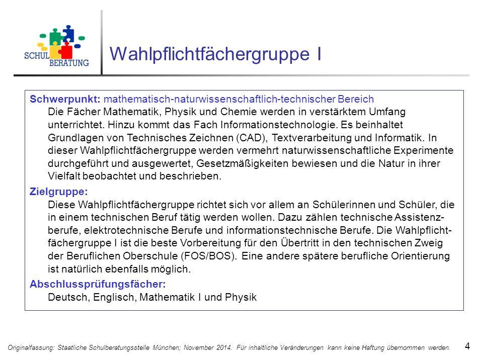 Beispielaufgabe aus dem Probeunterricht 25 Originalfassung: Staatliche Schulberatungsstelle München; November 2014.