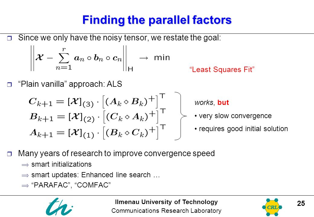 Ilmenau University of Technology Communications Research Laboratory 25 Finding the parallel factors  Since we only have the noisy tensor, we restate the goal:  Plain vanilla approach: ALS  Many years of research to improve convergence speed  smart initializations  smart updates: Enhanced line search …  PARAFAC , COMFAC works, but very slow convergence requires good initial solution Least Squares Fit