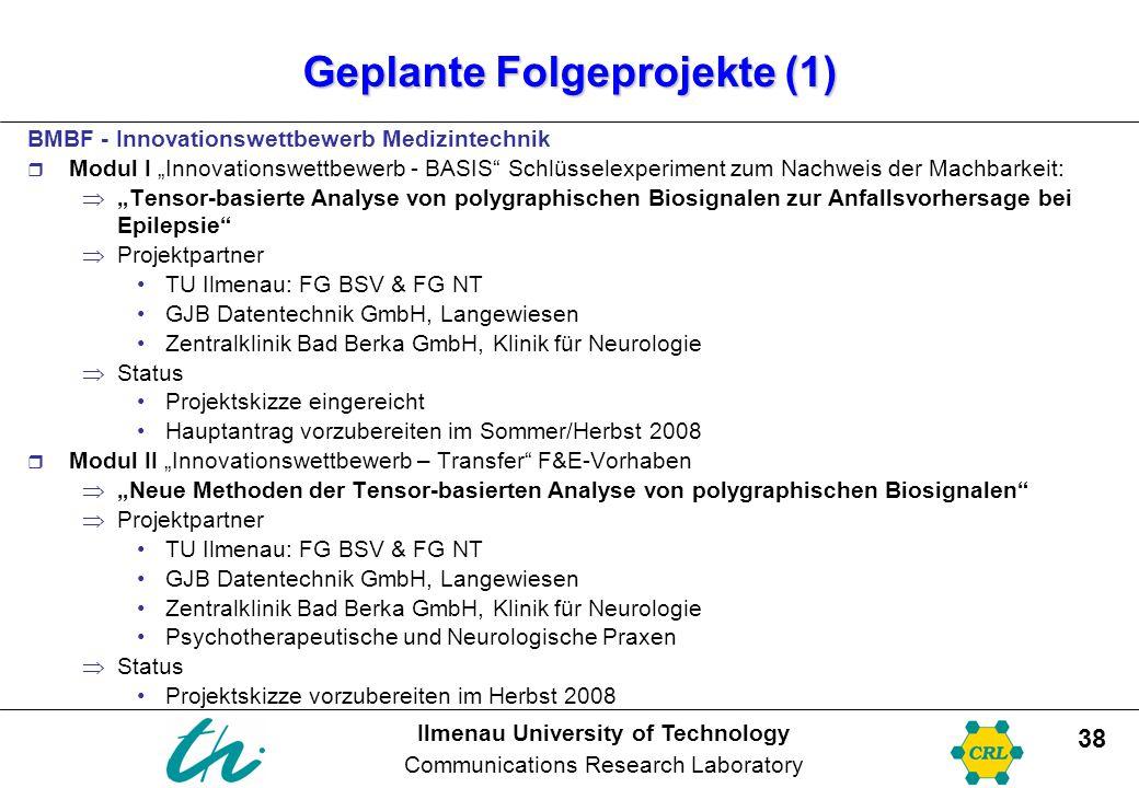 Ilmenau University of Technology Communications Research Laboratory 38 Geplante Folgeprojekte (1) BMBF - Innovationswettbewerb Medizintechnik  Modul